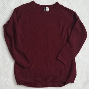 Maroon pullover sweater crew neck size L DIVIDED